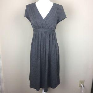Motherhood Maternity Gray Wrap Midi Dress L